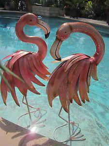 Metal Flamingo Yard Ornaments Pr Art Paint Decorated Pink Garden Lawn Statue Ornament
