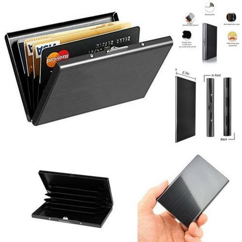 Rfid blocking credit card holder black stainless steel case metal rfid blocking credit card holder black stainless steel case metal slim wallet business reheart