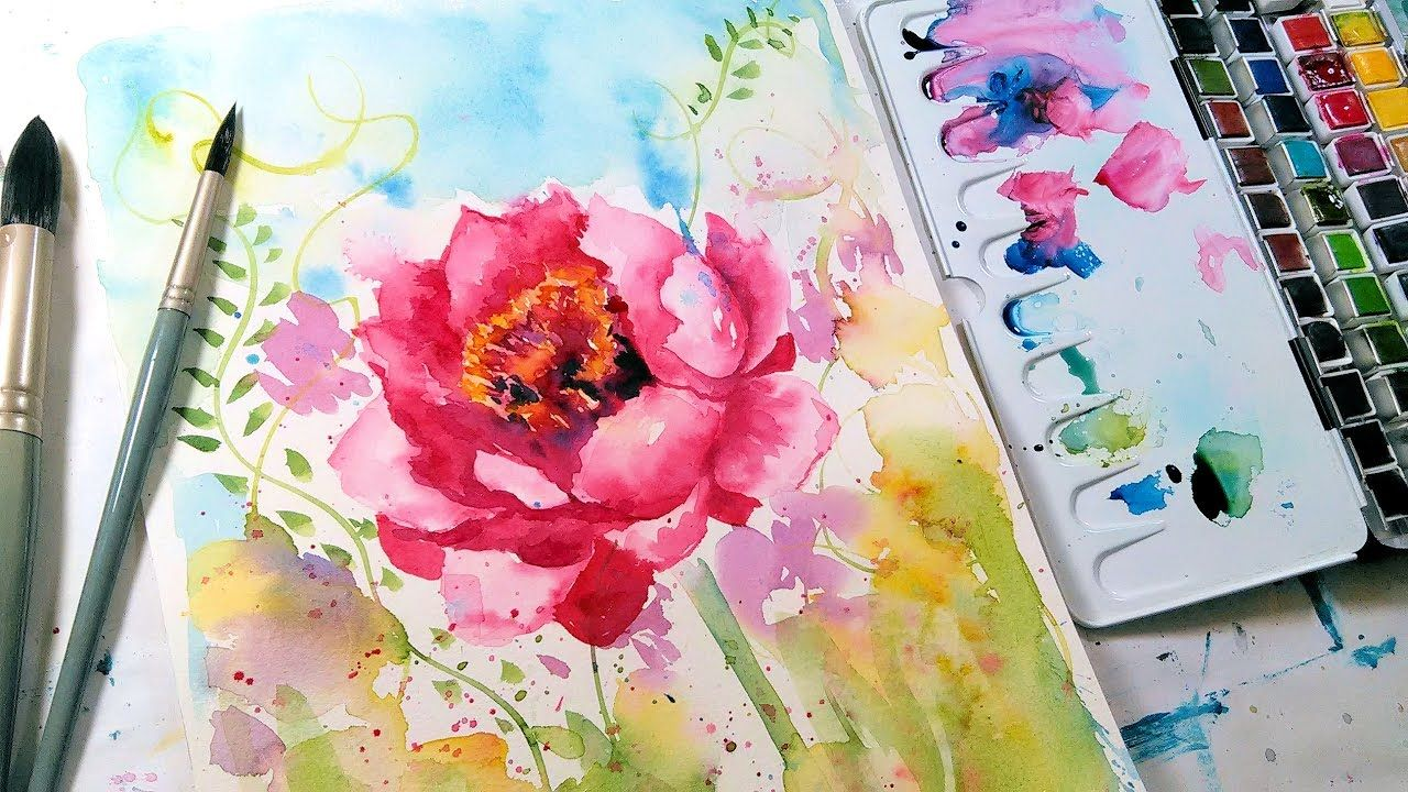 Loose Easy Peony Watercolor Tutorial Real Time Youtube
