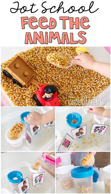This feed the animals sensory bin was fun for little hands to explore. Perfect for a farm theme in tot school, preschool, or the kindergarten classroom.