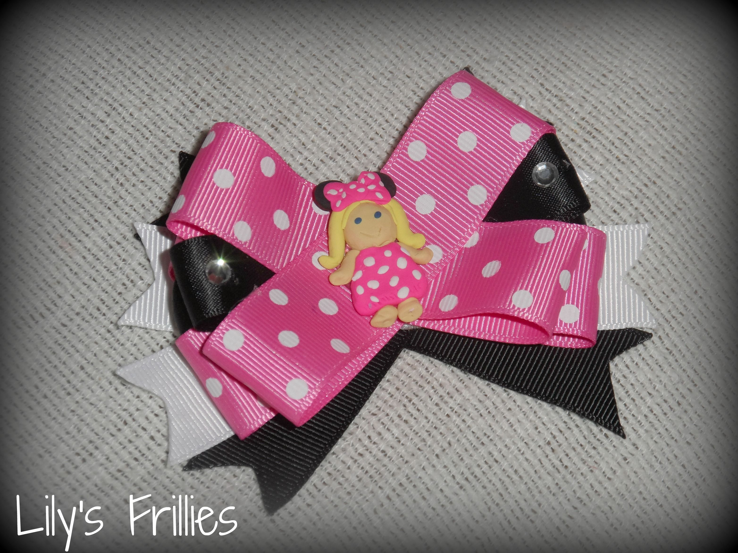 Minnie Mouse Girl Bow   (handmade clay center)  www.facebook.com/lilysfrillies