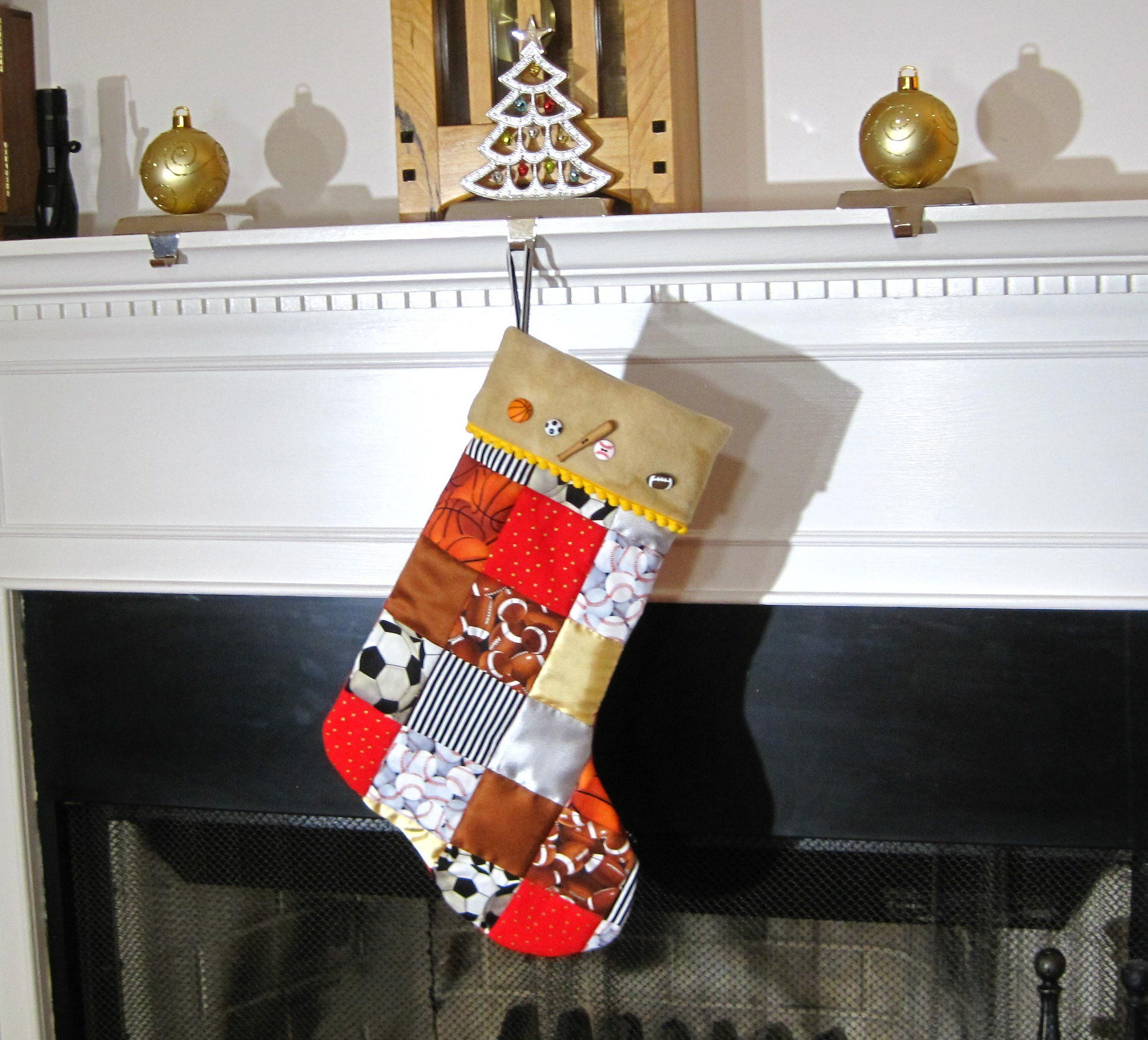 Go Team Patchwork Quilted Christmas Stocking for Boys ...