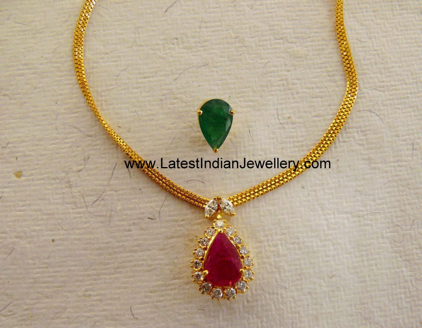 Simple elegant necklace with interchangeable gemstone for Simple gold ornaments