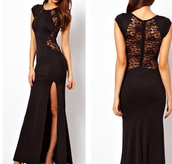 Long short sleeve black dress with a cut and laced back | Long ...