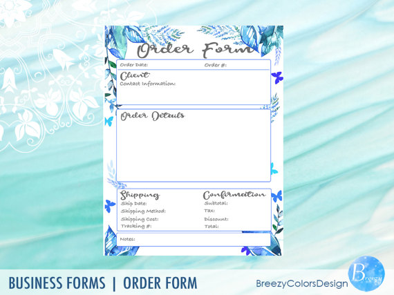 beautiful blue leafy printable order form template Order Form - printable order form