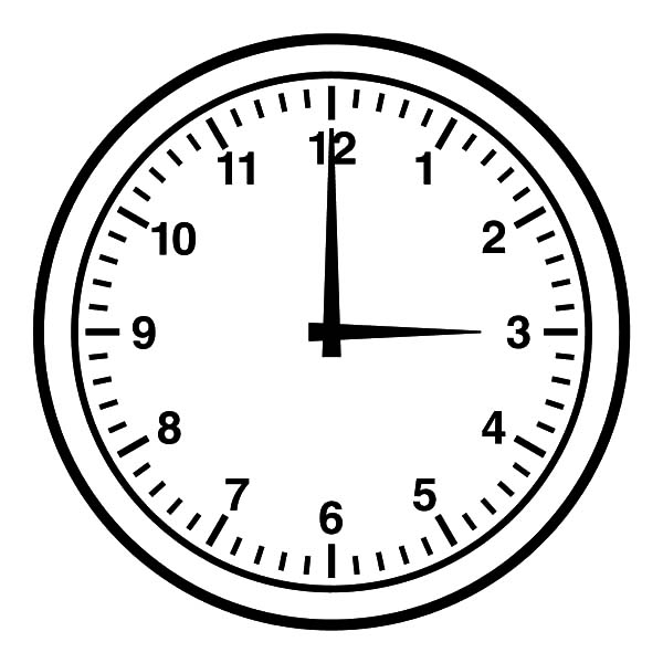 Three O Clock Coloring Pages Best Place To Color Clock Clipart Clock Clock Template