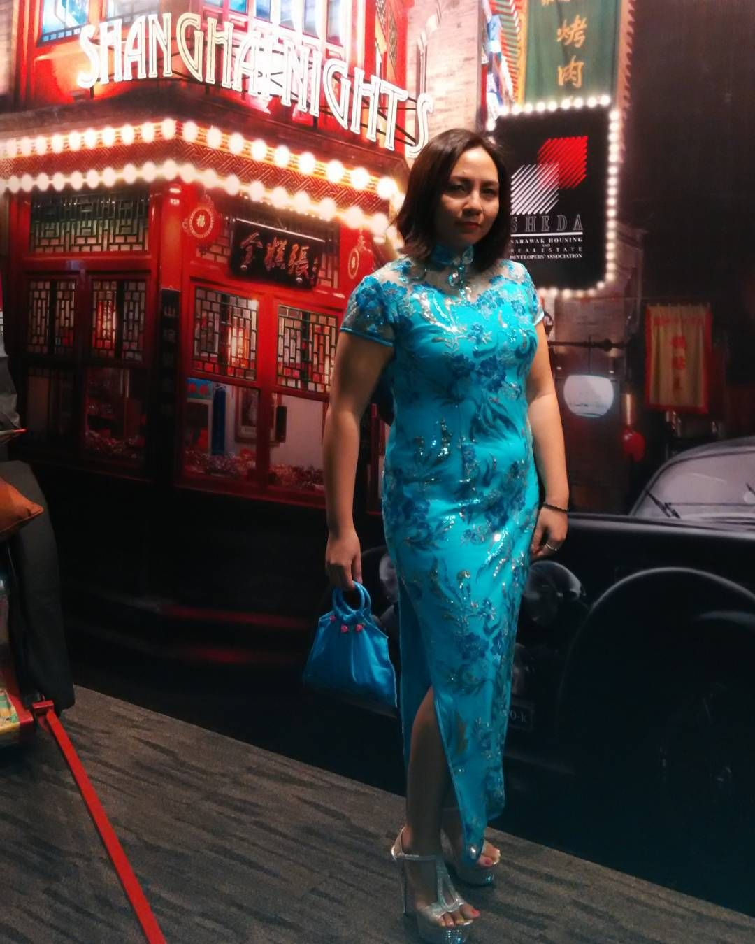 """I'm grabbing all opportunities to wear this!  #cheongsam #shanghainights #sheda #work #bluedress #sparklydress #handmadebag #platformshoes"""