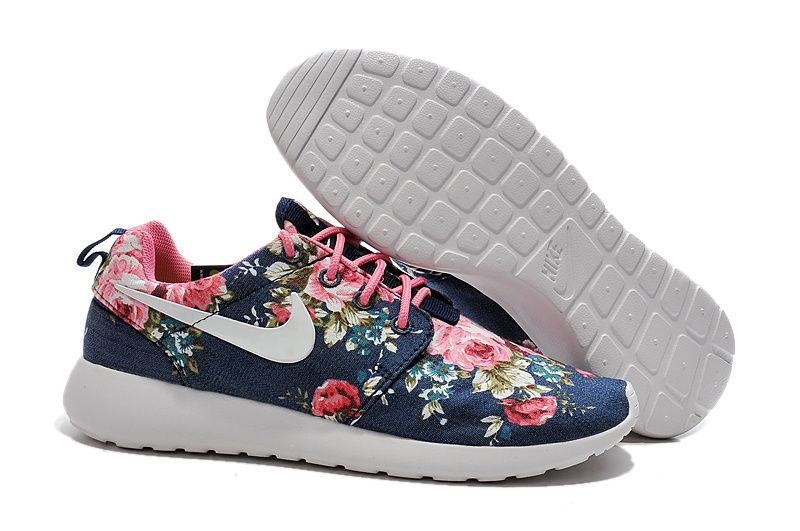 finest selection 1193f a268c Nike Roshe Run Womens Canvas Mesh Dark Blue Floral White Pink