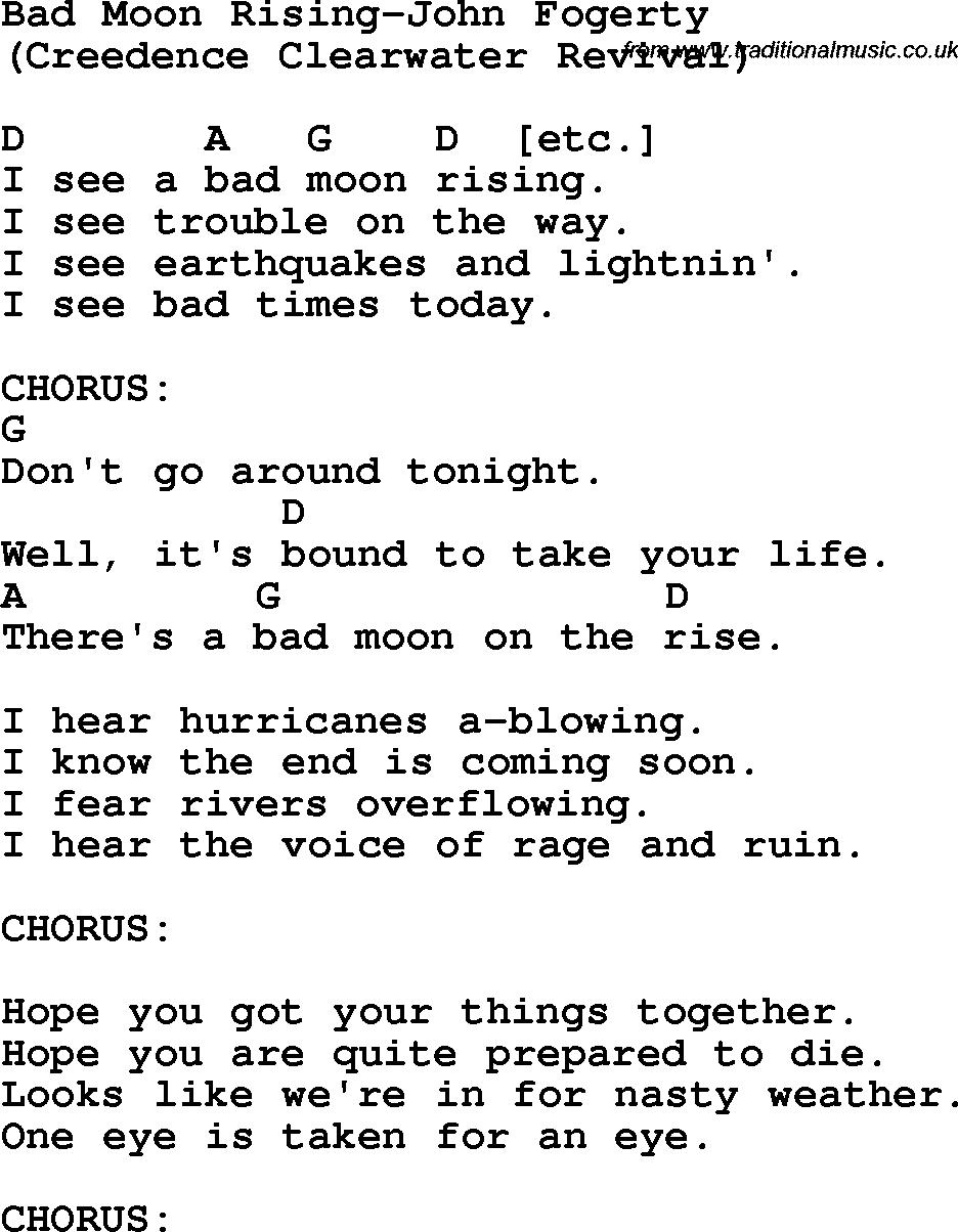 Protest Song Bad Moon Rising John Fogerty Lyrics And Chords