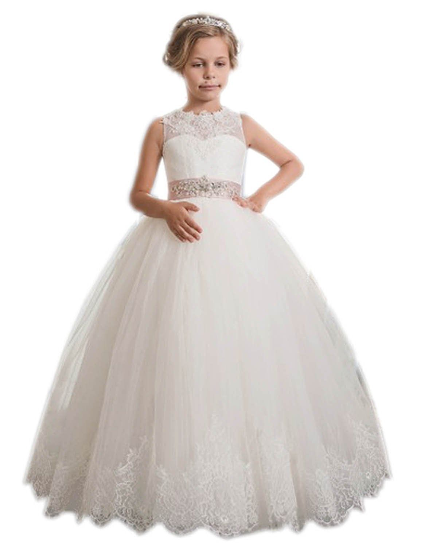 bdd7a55a5 Kauste Lace Flower Girls Dress Girls First Communion Dress Princess ...