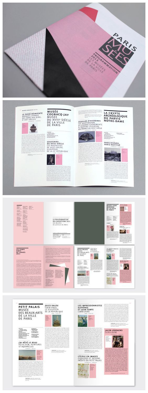 creatige use of color blocks alongside photos in a two column design