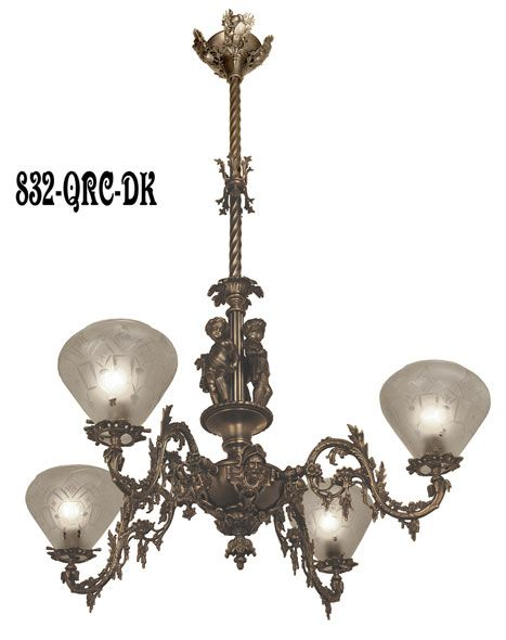 Neo Rococo Allegorical Gas Light Reproduction Antique Chandelier Tells A Story Circa 1850 Cornelius And