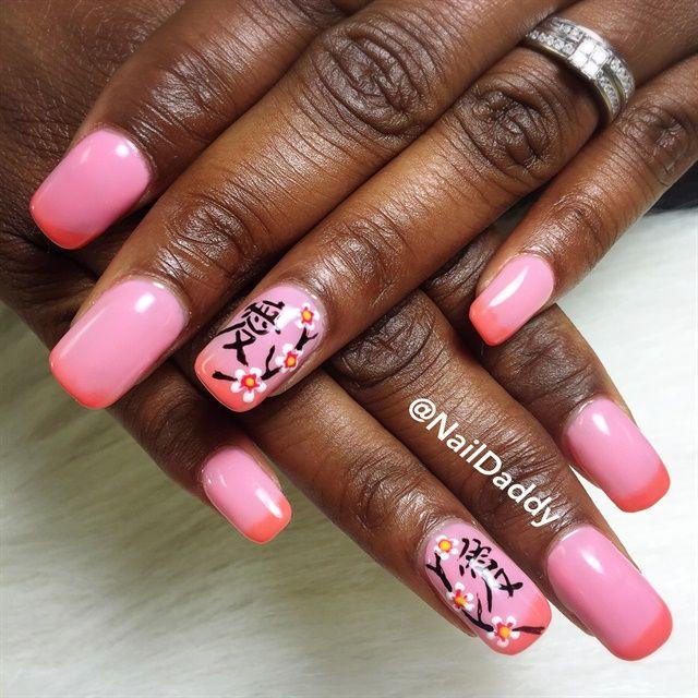 Day 166: Cherry Blossom Nail Art | Cherry blossoms, Flower nail art ...