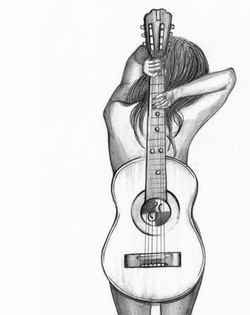 Pencil Sketches Of Girl With Guitar