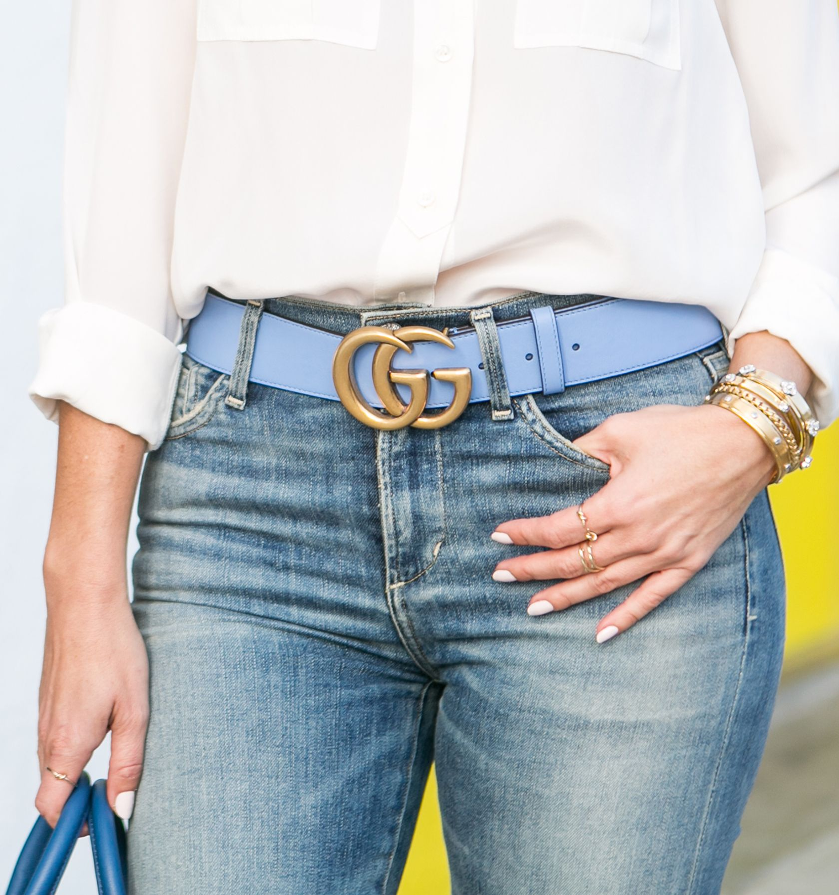 cb0c10d9ff5 Sydne Style reviews Gucci GG buckle belt in blue leather for sizing guide