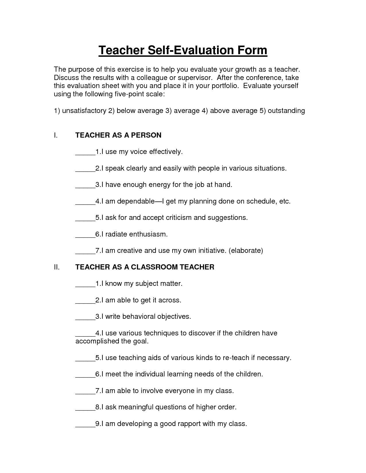 Teacher Self Assessmemnt | Teacher Self Evaluation Form
