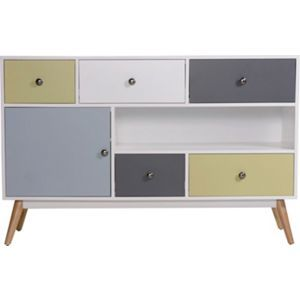 Homebase 299 Hygena Retro 1 Door 5 Drawer Sideboard