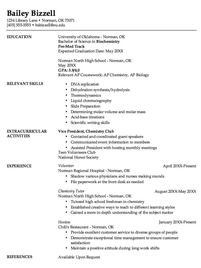 Freshman Chemistry Resume Samples Examples Resume Cv Chemistry Ap Chemistry Freshman