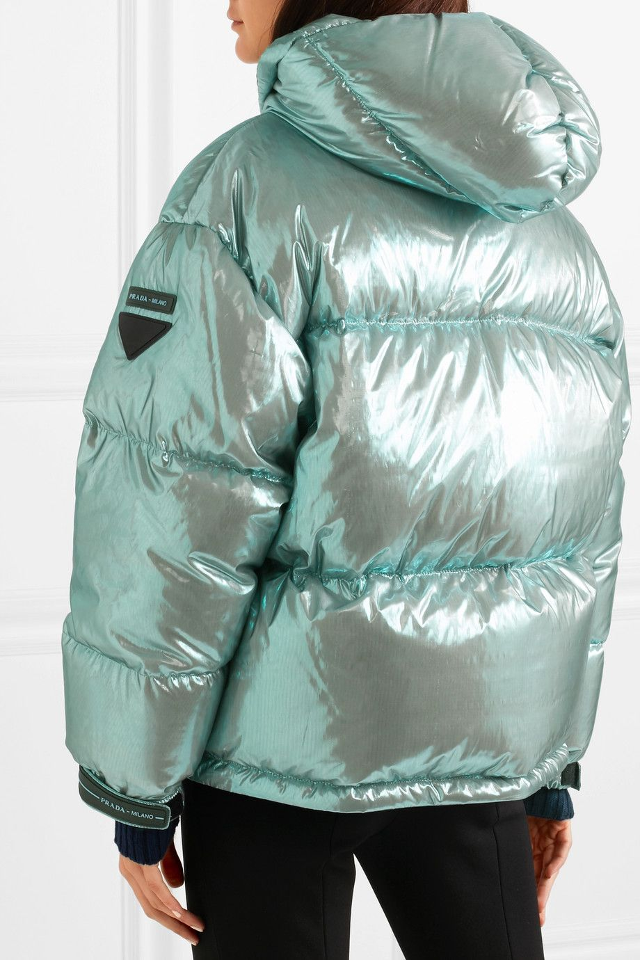 Mint Oversized Quilted Metallic Shell Down Jacket Prada Down Jacket Puffer Jacket Women Jackets [ 1380 x 920 Pixel ]