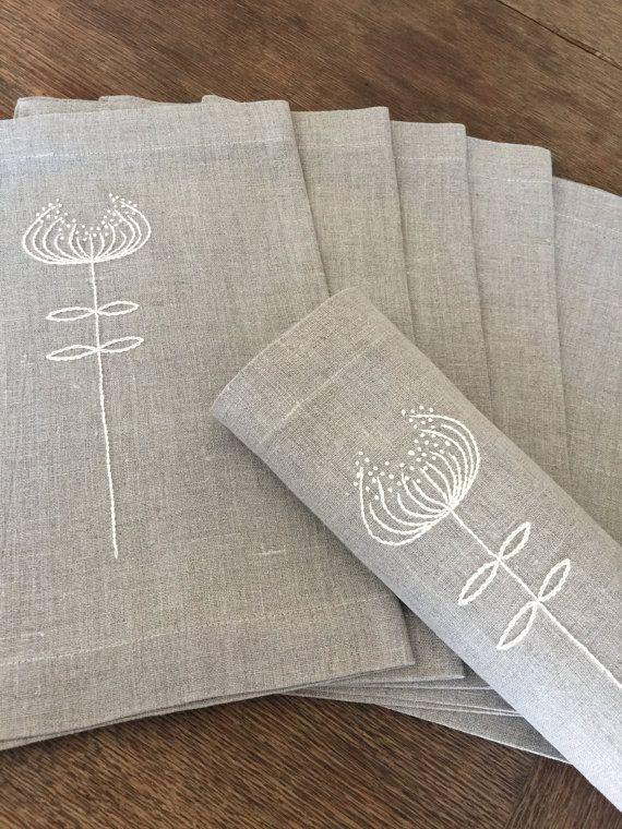 Juego de manteles individuales de lino de 6 mano por for Manteles individuales de tela