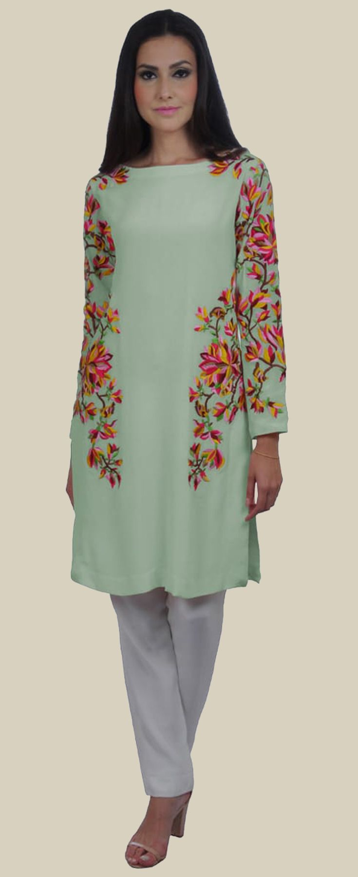 777f47fced66b4 Sage Green Magnolia Embroidered Pure Crepe Tunic | Kurtis ...