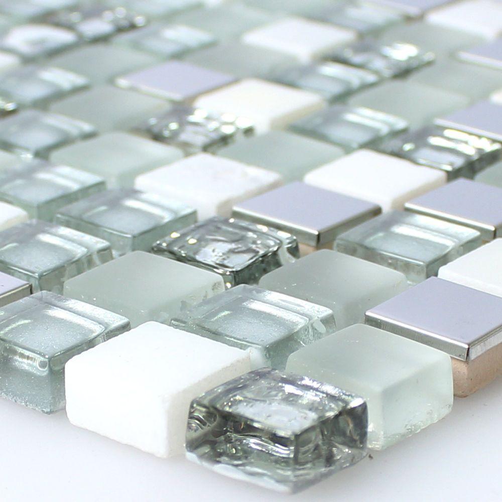 Mosaikfliesen Weiß glas edelstahl naturstein mosaik fliesen weiss silber