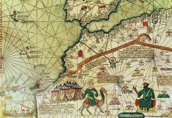 Part of Atlas Catalán, showing North Africa with king enthroned and - copy world map africa continent