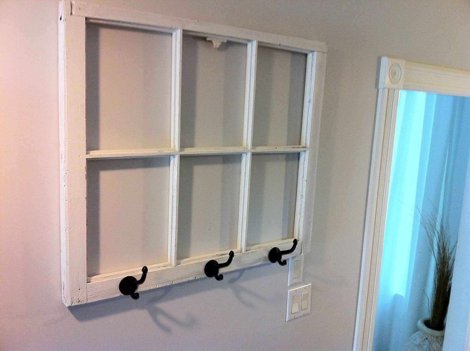 DIY coat rack from an old window with dry erase marker window ...