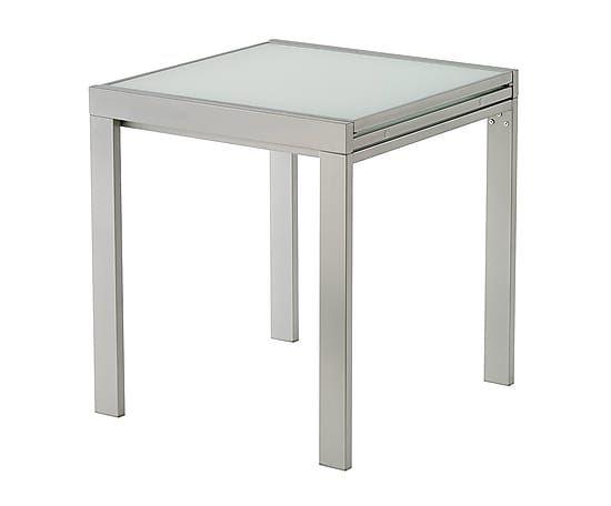 Mesa de comedor extensible de cristal templado y metal - blanco