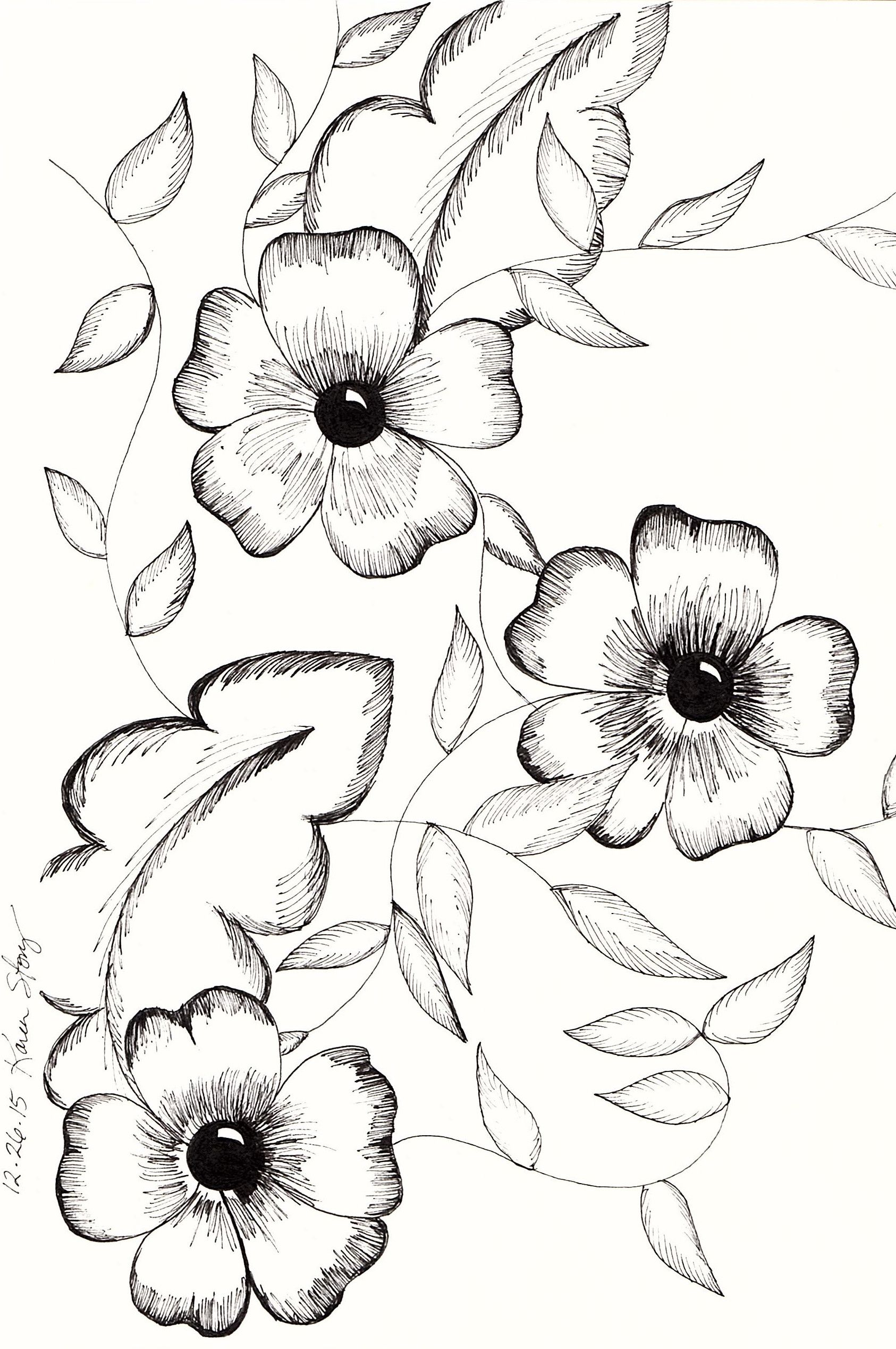 Vintage Black And White Flowers My Drawings Pinterest Flowers