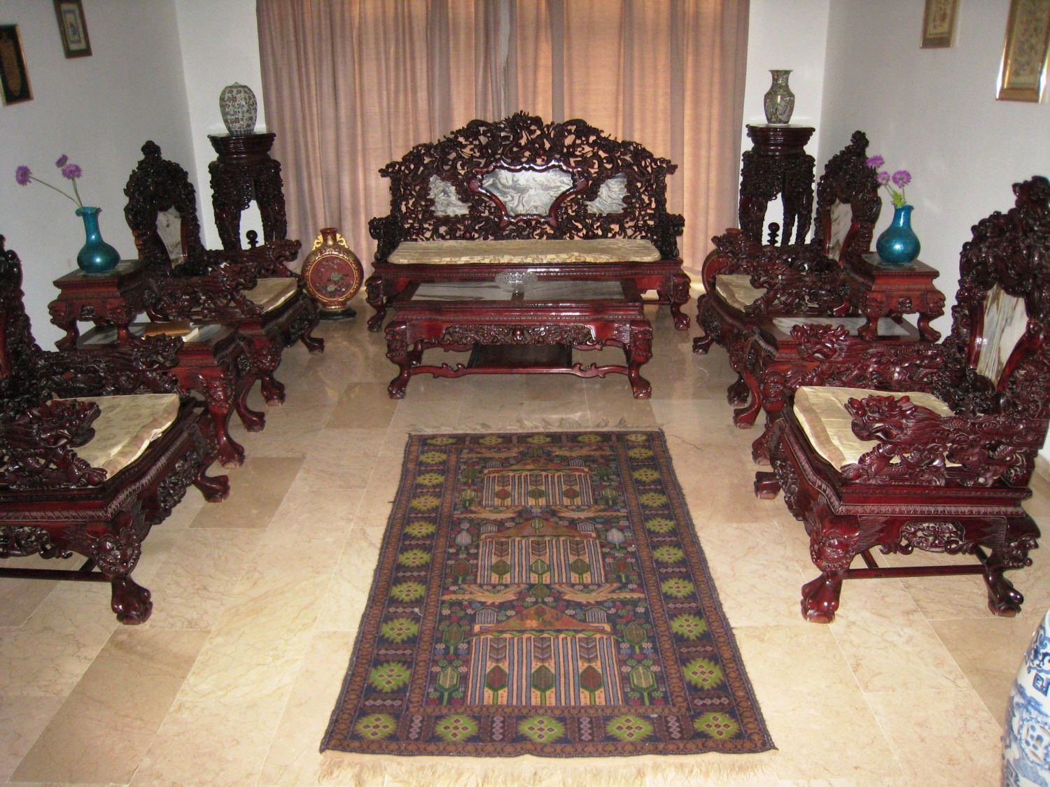Chinese Hand Made Ultra Rare Rose Wood Living Room Furniture Set Oriental Asia Antique Singapore Collectors Piece Furniture Home Chairs Sofa Wood Furniture Living Room Living Room Furniture Wood Sofa