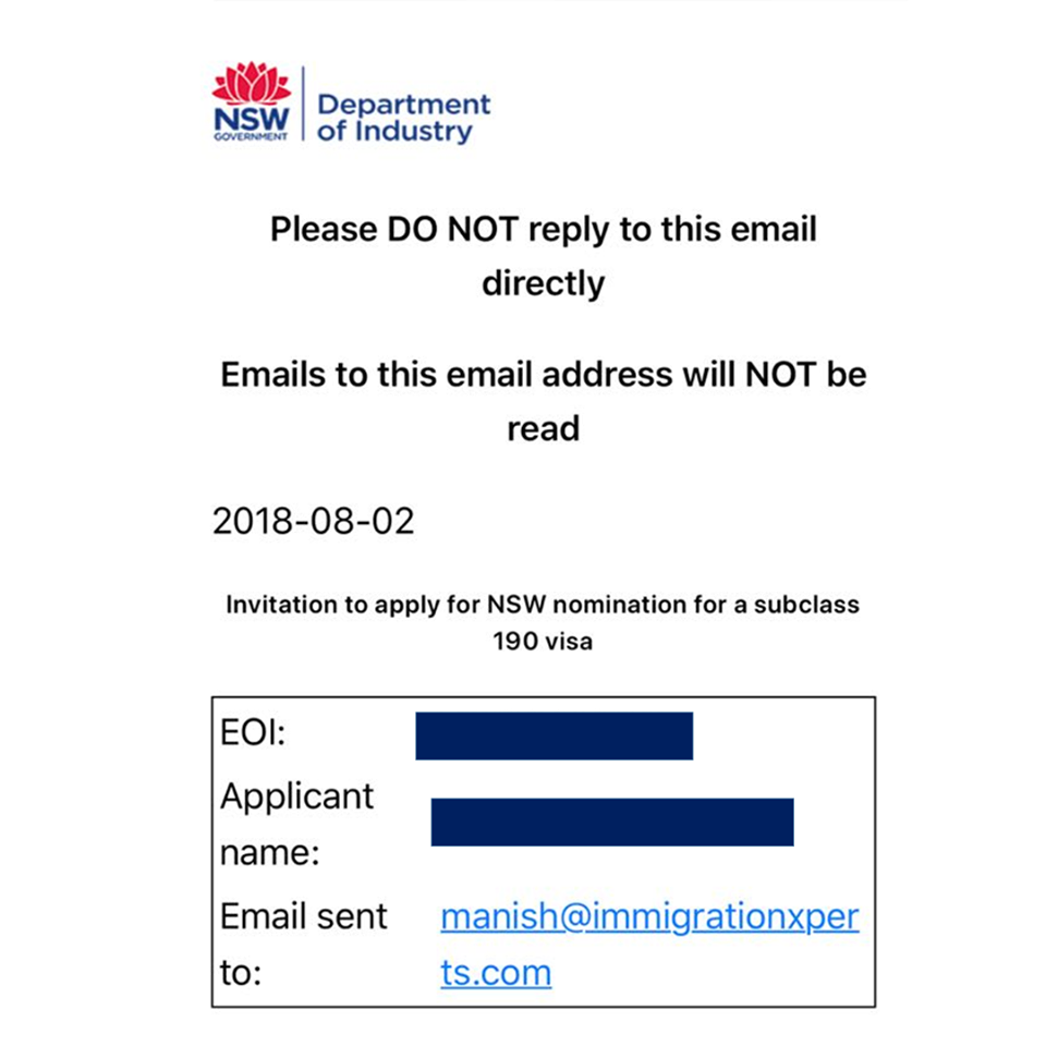 NSW #State #Sponsorship invitations received yesterday for Subclass