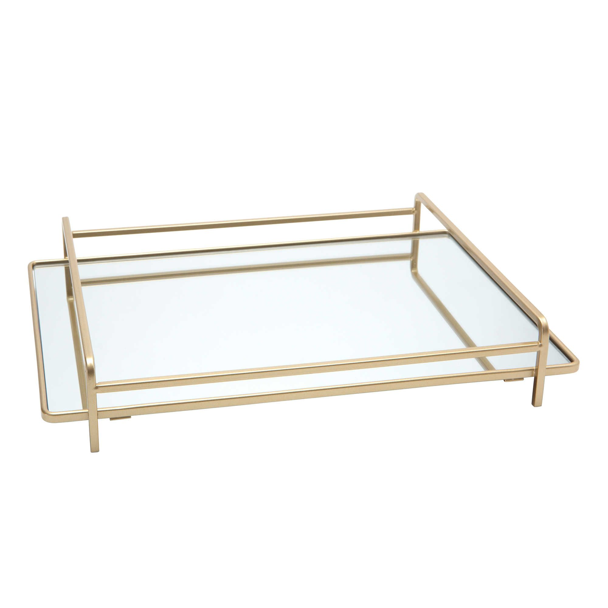 Home Details 4 Rail Vanity Mirror Tray in Gold