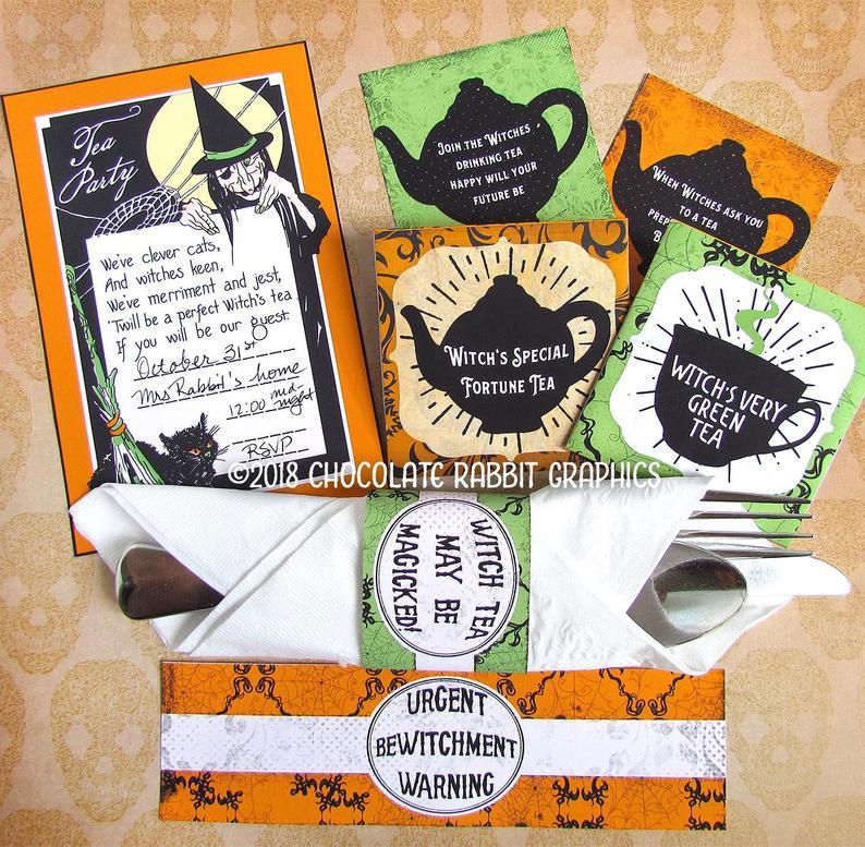 Printable Halloween Envelopes Halloween Tea Bags Halloween Decorations Halloween Scrapbooking VD0224 Halloween Tea Party Tea Bag Holder