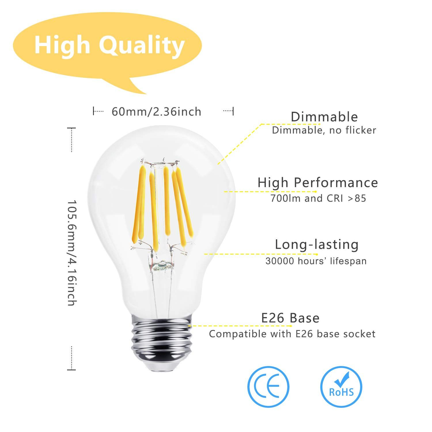 Dicuno Dimmable A19 A60 Edison Led Bulb 6w 60w Equivalent 360a Beam Angle Warm White 2700k E26 Medium Screw Outdoor Light Bulbs Dimmable Led Lights Light Bulb