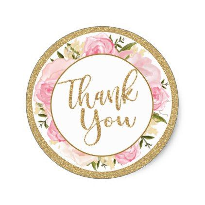 pink gold flower wedding thank you round sticker gold wedding