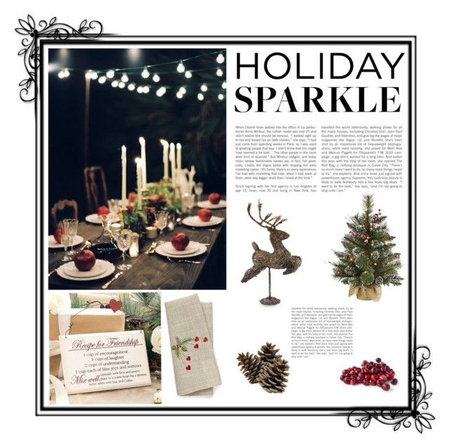 """Holiday Sparkle"" by mezoti ❤ liked on Polyvore featuring interior, interiors, interior design, home, home decor, interior decorating, Dibor, Shea's Wildflower Company, HolidayParty and deckthehalls"