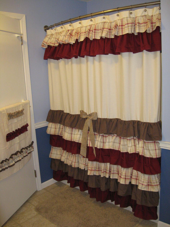 Shower Curtain Cascading Ruffles Custom Designer By Countryruffles
