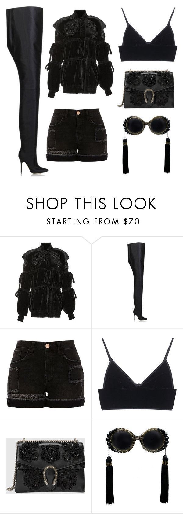 """""""Black out"""" by ijandco on Polyvore featuring Elie Saab, Vetements, River Island, T By Alexander Wang and Gucci"""