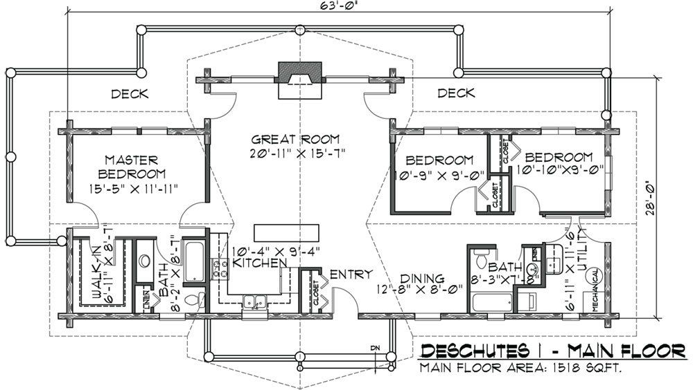home floor plans floor deschutes log home floor plan photo sq ft ...