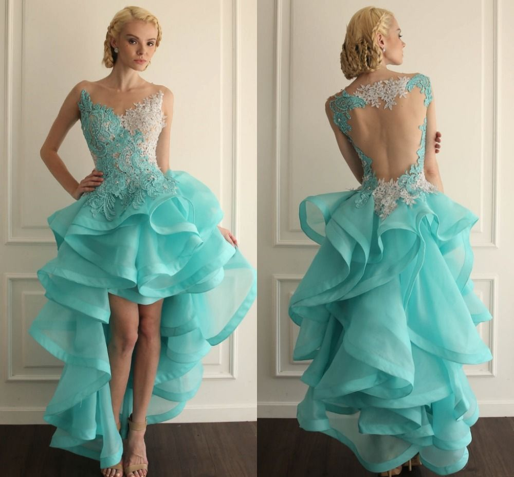 2015 Gorgeous Ivory Blue Beaded Lace High Low Prom Dresses Sheer ...