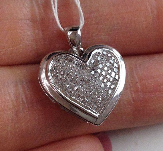 White Gold Diamond Heart Pendant 10k Invisible Setting Shiny Diamonds Heart Pendant Diamond Heart Shaped Jewelry Diamond Heart