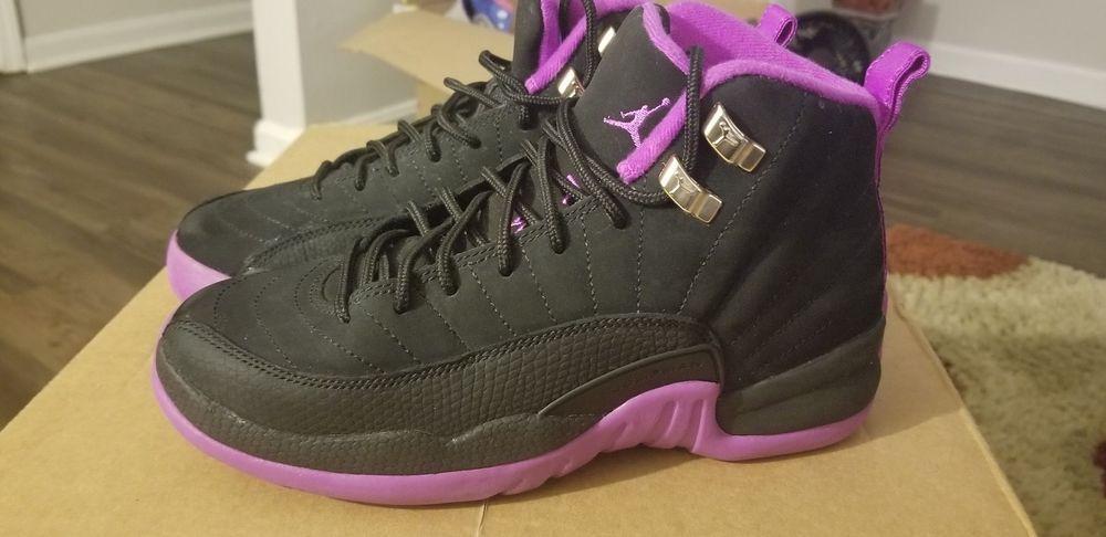 2eb7e3a66cbd Nike Air Jordan 12 Retro Black Purple 4.5y US GG NEW 510815 018 Hyper Violet