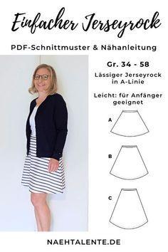 Instructions de couture jupe en jersey simple pour femme Patron de couture taille 34 – 48 | Talents couture   – nähen