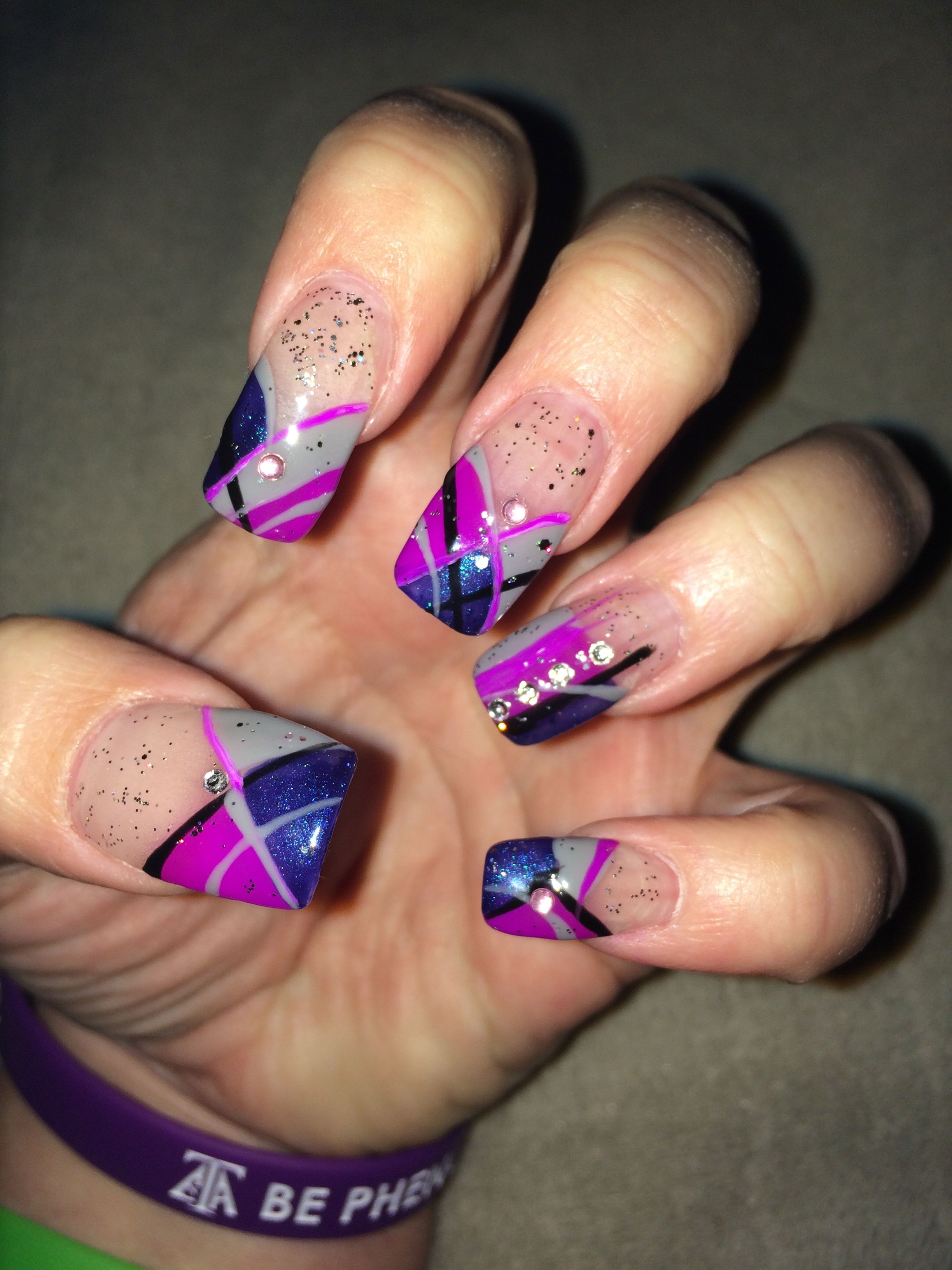 Nail design in honor of my love\'s birthday. His favorite color is ...