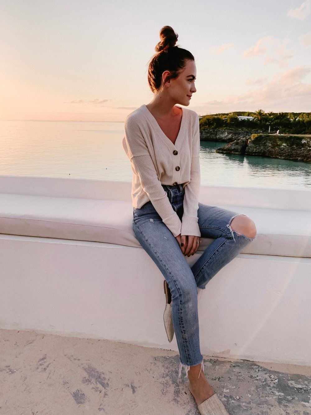 button up sweater and jeans beach vacation #beachvacationclothes