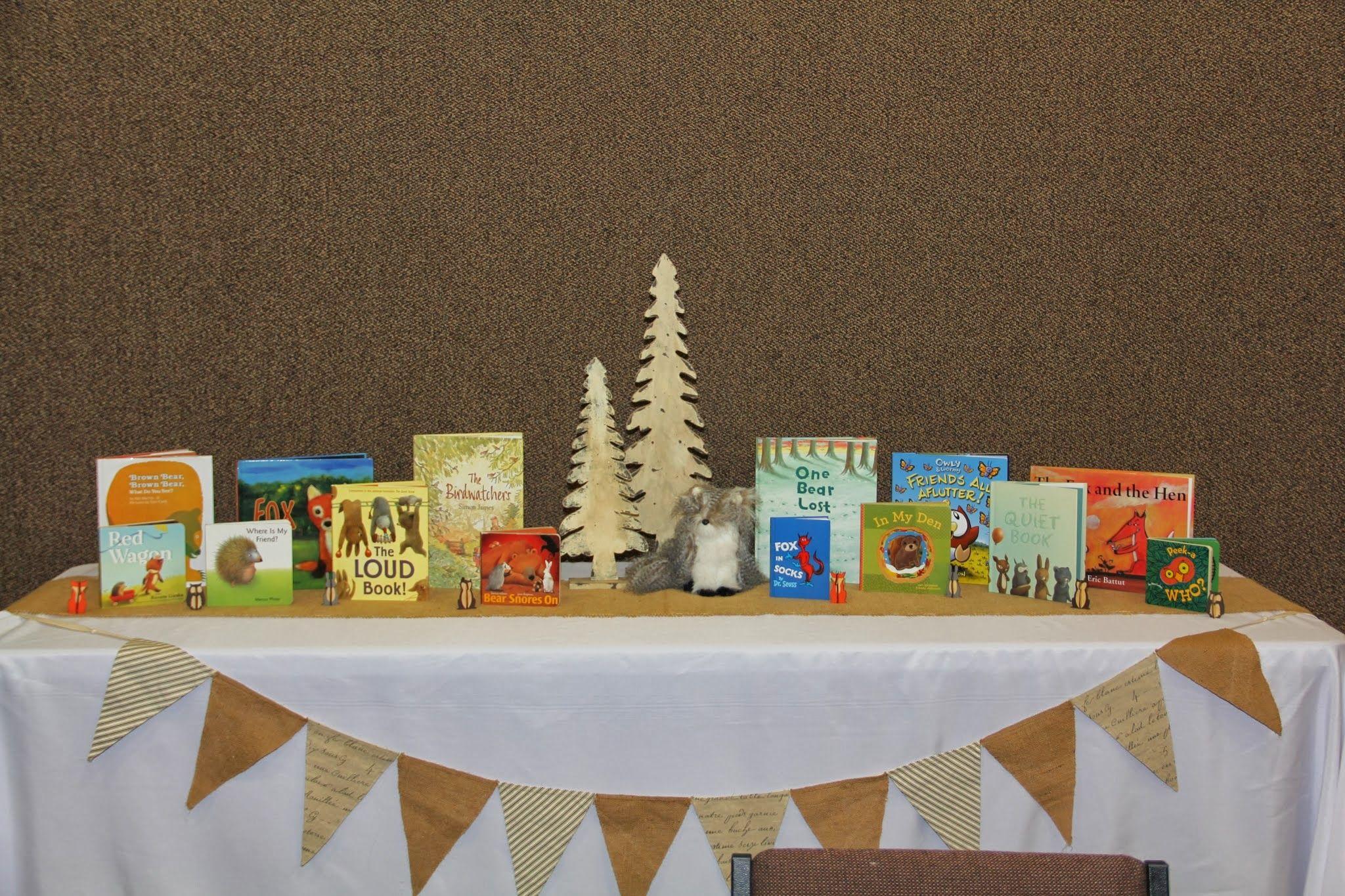 Woodland Baby Shower  Kids Book Display Brown Bear Brown