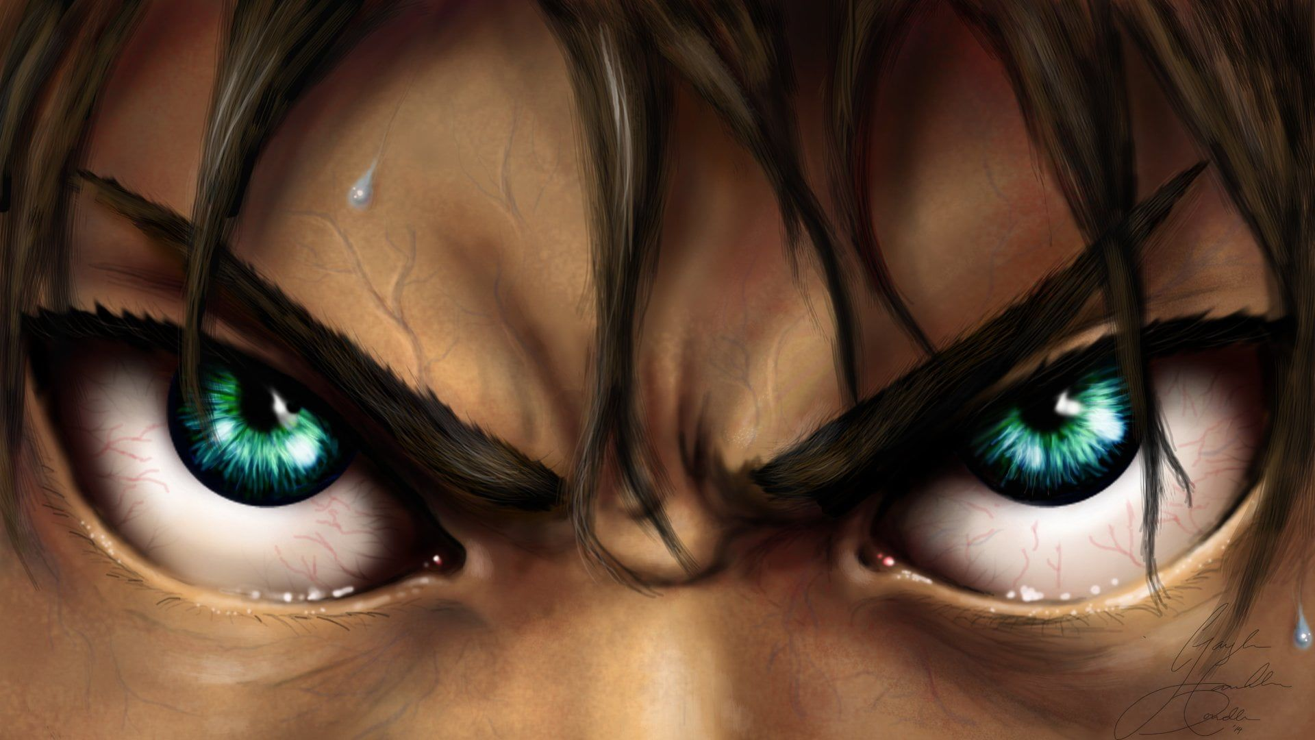 Green Eyes Anime Attack On Titan Angry Attack On Titan Boy Close Up Eren Yeager Green Eyes Shinge Attack On Titan Anime Attack On Titan Attack On Titan Art