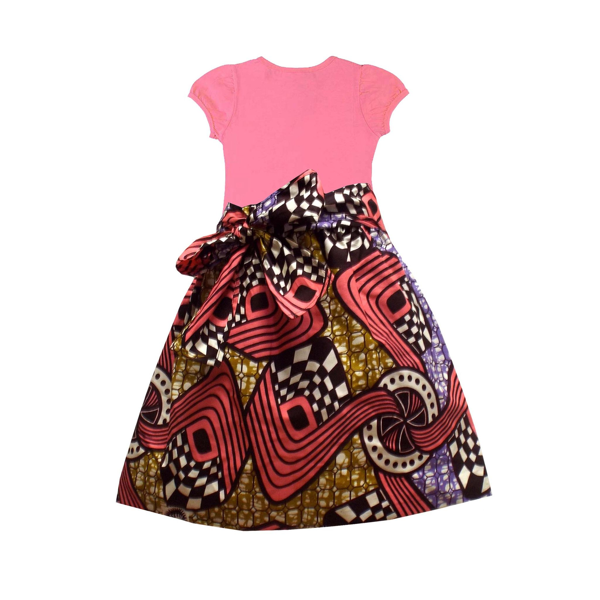 Abina african print full skirt for little girls pink for Childrens dress fabric