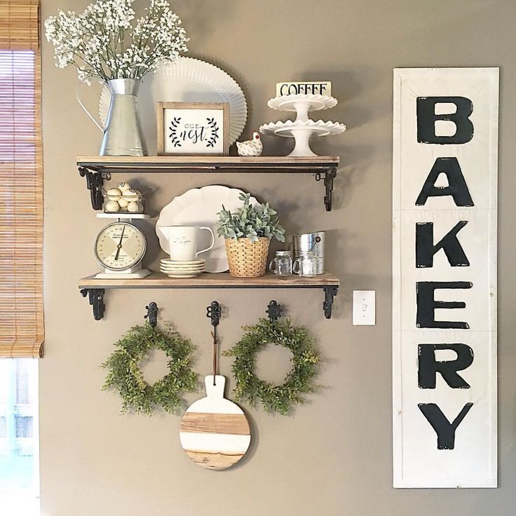 Farmhouse Kitchen Shelves Decor